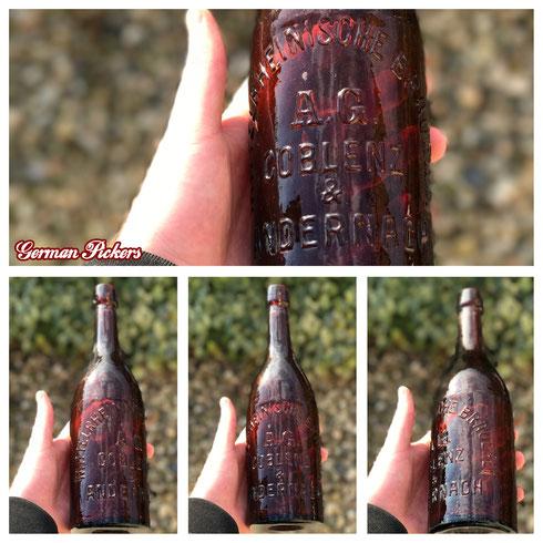 Historische / Antike Bierflasche:  Mittelrheinische Brauerei A.G.  Coblenz & Andernach  um 1910