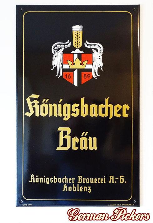 Königsbacher Bräu Koblenz  - Emailschild  Deutschland um 1940  C. Robert Dold Offenburg, 50 x 70 cm