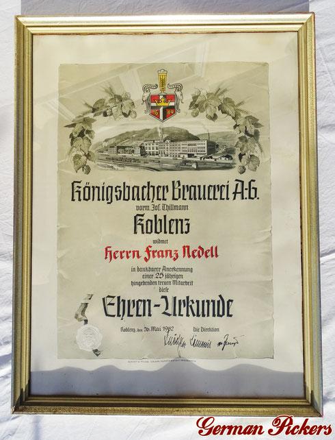 Königsbacher Brauerei Koblenz - Ehrenurkunde - 25 - jährige Mitarbeit