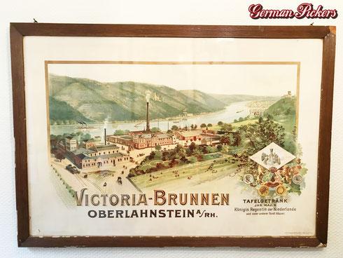 Victoria Brunnen Oberlahnstein - Lithographie  Luth. Friedr. Schomba Offenbach  um 1900 - Originalrahmen und Glas  ca 70 x 50 cm -  Victoria Water Oberlahnstein - Lithograph  Germany 1900`s