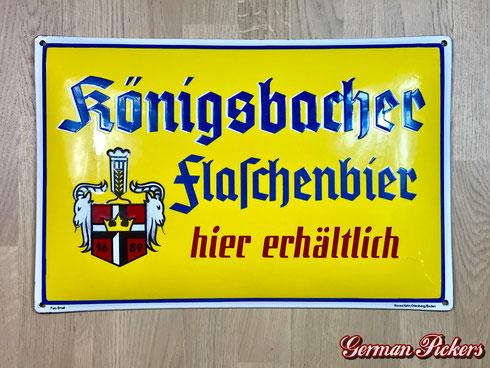 Königsbacher Bräu / Brauerei Flaschenbier - Emailschild  Deutschland um 1930  Boos & Hahn Ortenberg-Baden, 33 x 50 cm
