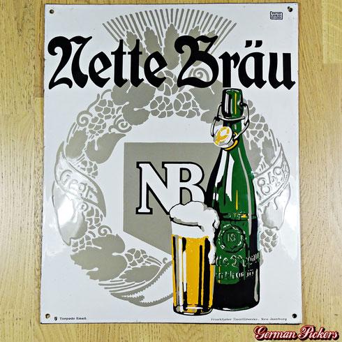 Nette Bräu / Brauerei Neuwied - Emailschild  Koblenz / Neuwied um 1910  Torpedo Email - Frankfurter Emaillirwerke, Neu-Isenburg  Atelier Leroi Neu-Isenburg  50 x 60 cm  Das besterhaltenste von drei bekannten Exemplaren -  Emailleschild