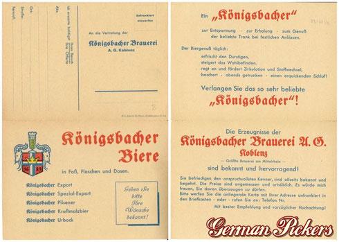 Königsbacher Bräu / Brauerei Ansichtskarte  Übersicht aller Produkte  um 1950