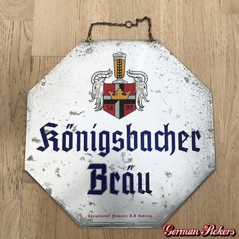Königsbacher Bräu / Brauerei Koblenz  Blechschild  31 x 31 cm  um 1930  Hersteller: C. Robert Dold Offenburg -  Königsbacher Brewery Koblenz  tin sign  Germany 1930`s