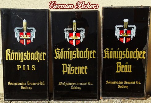 Königsbacher Brauerei Koblenz  3 Glasschilder  Deutschland um 1920 - 1950  ca 50 x 120 cm -  Königsbacher Brewery - glass signs  Germany 1930`s - 1950`s