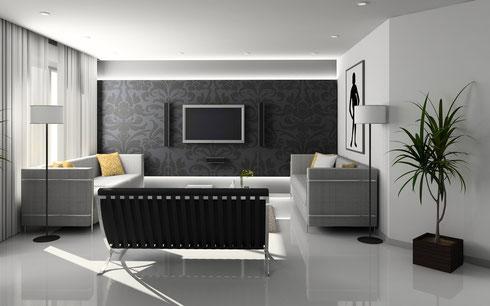 Kunstharzboden im Wohnzimmer