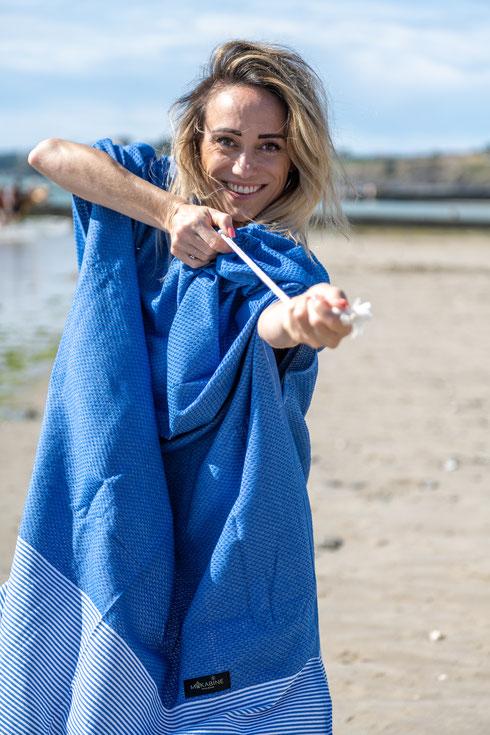 fabriqué en France, makabine, sortie de bain, poncho, plage, piscine, serviette