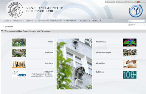 Screenshot der Instituts-Website