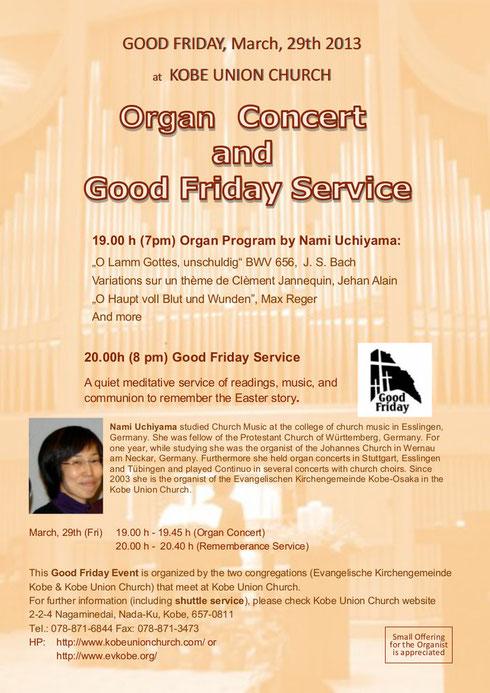 Karfreitag Orgelkonzert mit Gottesdienst