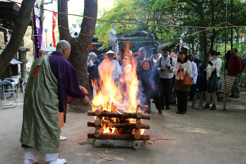 写真は燃え盛る炎に護摩木や古筆投下の様子