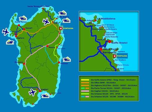 Cartina Sardegna Con Aeroporti.Come Arrivare A Puntaldia Benvenuti Su Dream Holiday Apartments