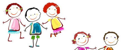 Teamtage für Kitas. Auf diesem Bild sind lustige gemalte Kinder zu sehen. Teamtage sind eine erkenntnisreiche Auszeit für Kita-MitarbeiterInnen.