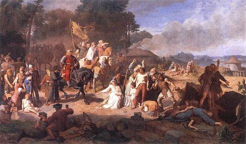 Zerstörung eines heidnischen Heiligtums während des Wendenkreuzzugs. Gemälde von Wojciech Gerson (1831-1901)