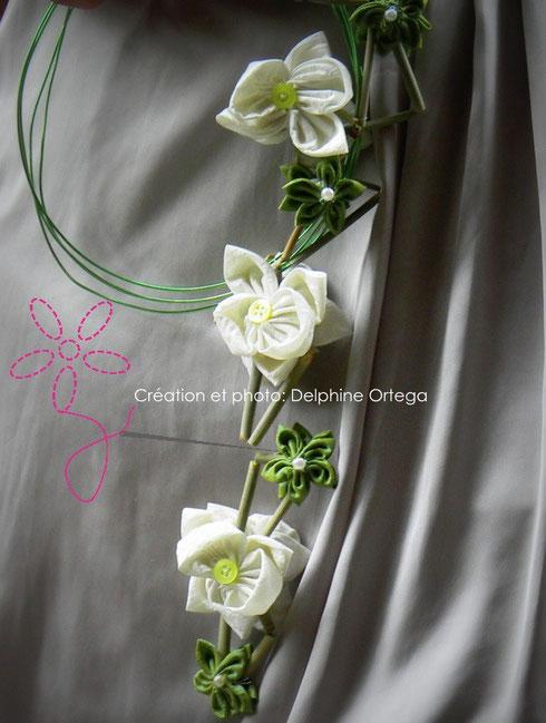 Bouquet original et intemporel orchidées blanches, fleurs vertes et bambous