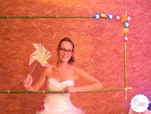 Photomaton cadre fleurs en tissu moulins à vent
