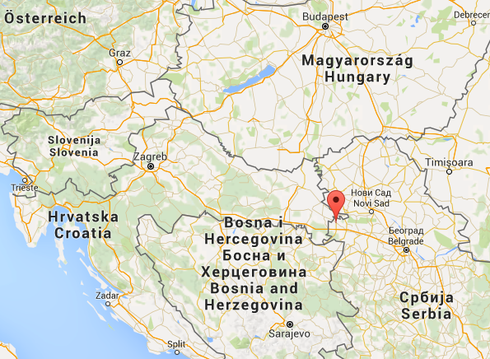 Die rote Markierung zeigt auf den Ort Sid in Serbien an der kroatischen Grenze