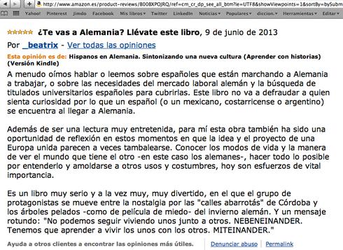 Opinión de Beatriz en Amazon.es