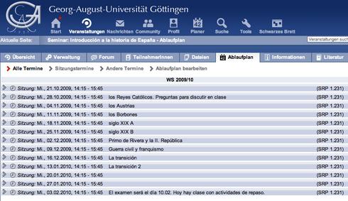 """©Natalia Pérez de Herrasti. """"Ablaufplan"""" de un curso en la Intranet de la universidad."""