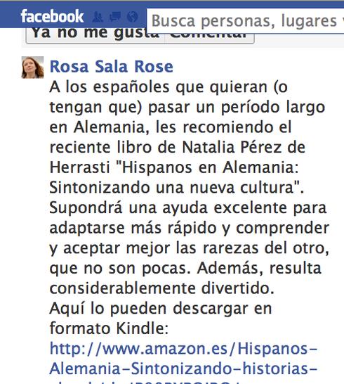 Opinión de la escritora y germanista Rosa Sala Rose en Facebook