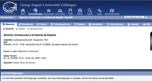 ©Natalia Pérezde Herrasti. Intranet de la universidad. Übersicht de un curso.