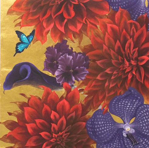 「Eden」 455x455ミリ 岩絵具 金箔 金泥 和紙