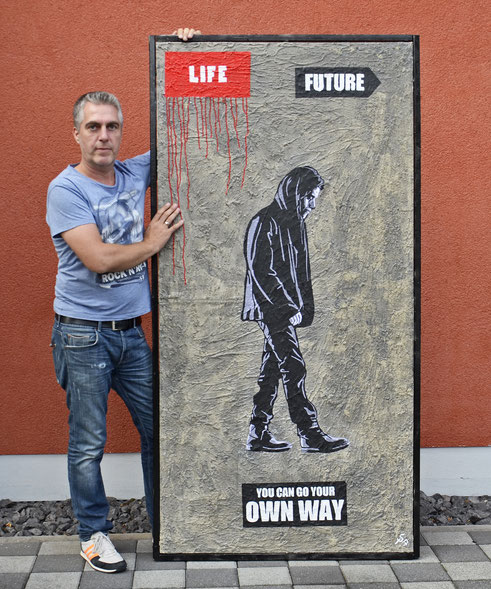 "(c) Divo Santino ""You can go your own Way"" Beton, Graffiti, Acrylfarbe"