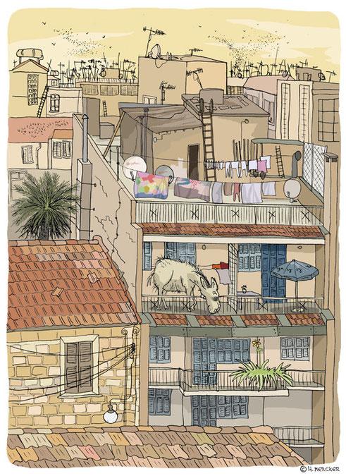 """Illustration """"Über den Dächern von Nikosia"""""""