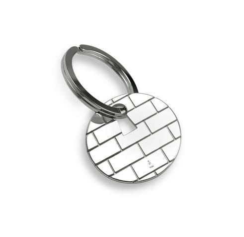 silberner Schlüsselanhänger Wand Mauer Schlüsselloch Hauswand Geschenk Einzug Wall Bricks Keyhole keyring pendant houswarming gift