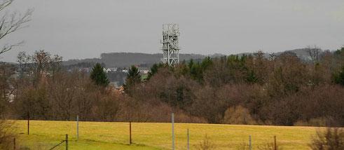 Ein Förderturm im Saarland im März 2012
