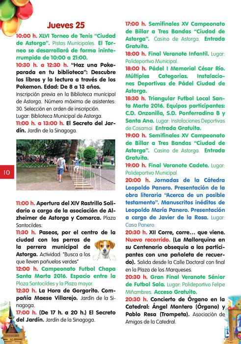 Programa de las Fiestas de Santa Marta en Astorga
