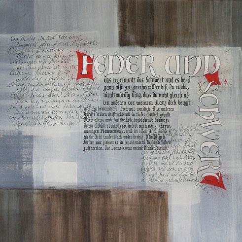 Kalligrafie, Kalligraphie, Textura, Gestisches Schreiben