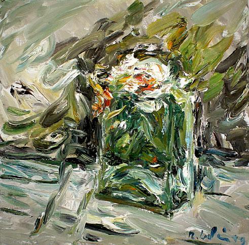 Rosen in eckiger Vase   2011, Öl auf LW, 35 cm x 35 cm