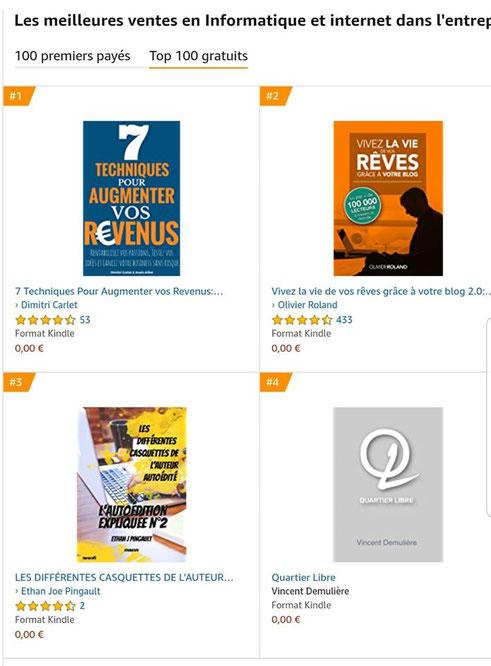 kindle gratuit, ebook gratuit, top catégorie, ebook autoédition, livre sur l'autoédition