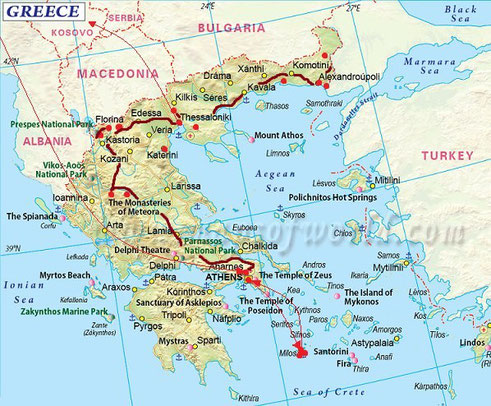 Overview of our route through Greece.
