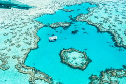 Aerial of Great Barrier Reef in Australia