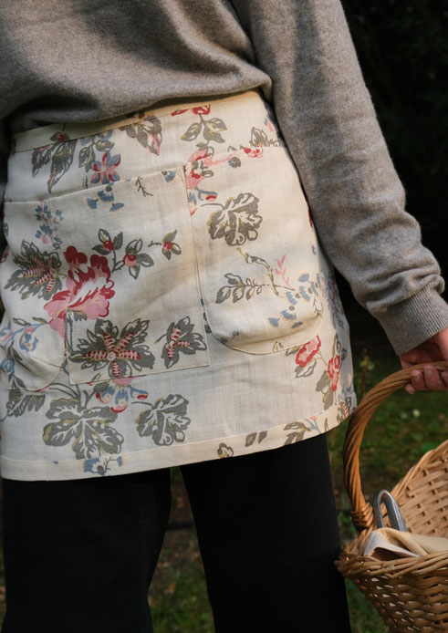 tablier jardin lin fleuri