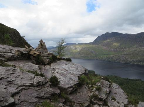 Blick auf den Loch Maree vom Beinn Eighe-Mountain Trail, Schottland 2015