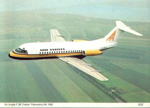 Air Anglia war einer der Vorläufer der AirUK und setzte Fokker F28 ein/Courtesy: Fokker