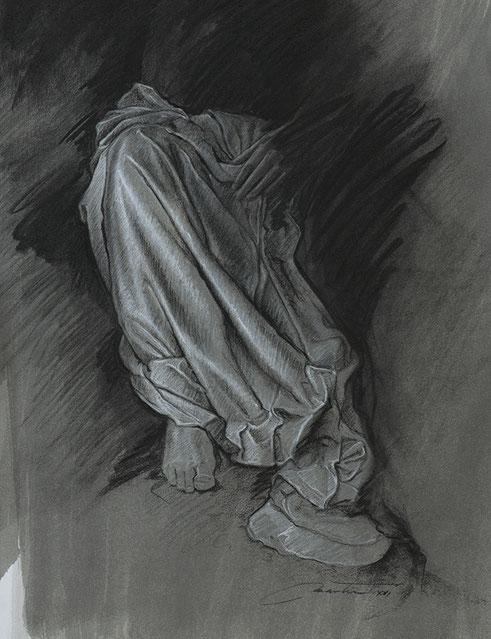 Frédéric Martin, artiste peintre, dessin, anatomie, femme, drapé, peinture contemporaine, peinture à l'huile