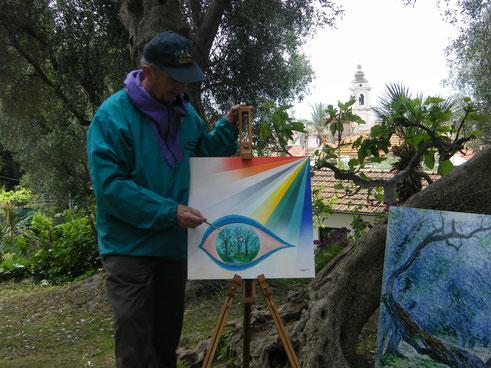 Gianpiero Actis painting at Villa Pompeo Mariani