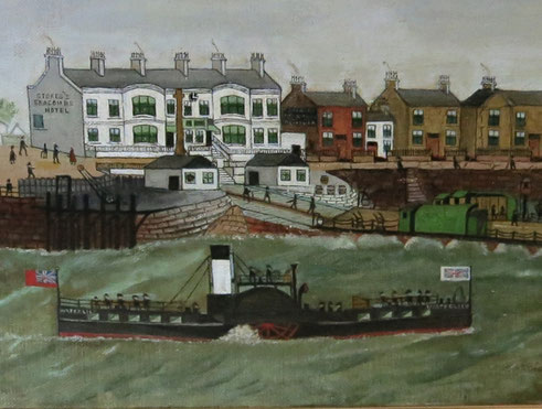 Seacombe, Merseyside, iron paddle steamer naive oil painting