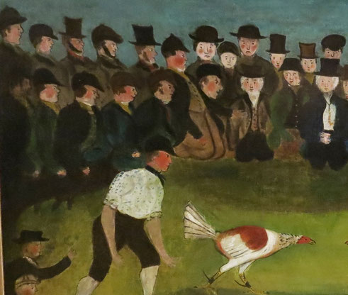 19th century Naive oil of a cock fight