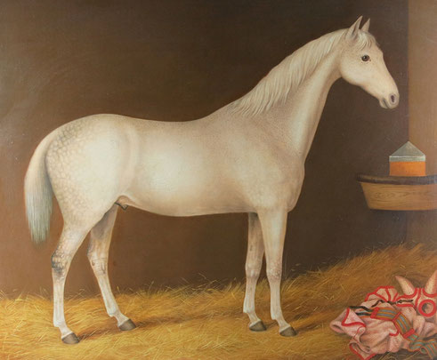 Naive 19th century white horse in his stable
