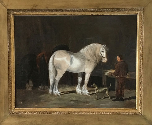Henry Woollett- Grey horse in a stable