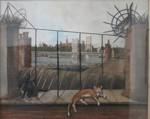 Cat decoupage diorama by the Thames