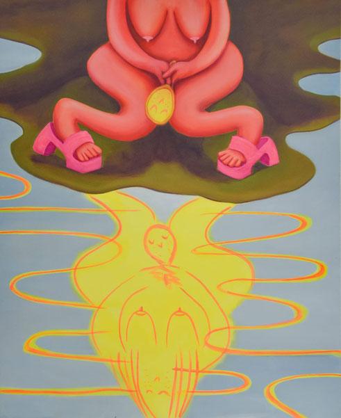 Reflection, 2020, Acryl und Pastell auf Leinwand, 195x 160 cm