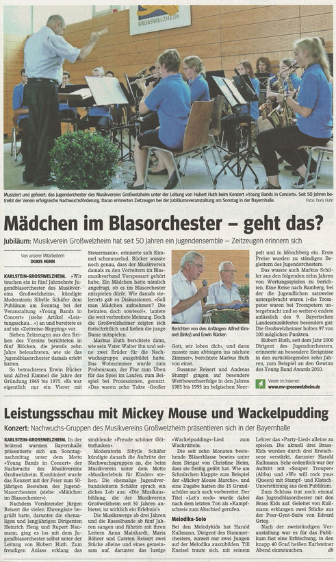 50 Jahre Jugendblasorchester & Young Bands in Concert, Main-Echo v. 07.07.2015