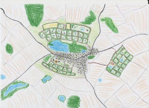 Siedlung um und in der nähe einer Kleinstadt