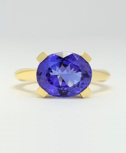 Schmuckdesign ring - tansanit - gelbgold