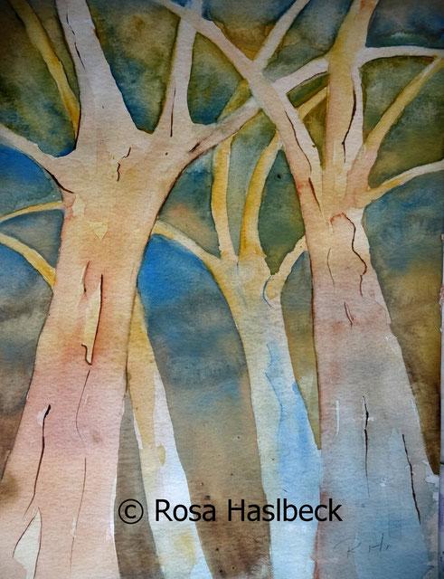 aquarell landschaftsaquarell, bäume, natur, negativtechnik , bild, kunst, bilder,  kaufen, malen, dekoration , wald